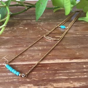 Jewelry - Long Turquoise and Gold Layered Necklace NWOT